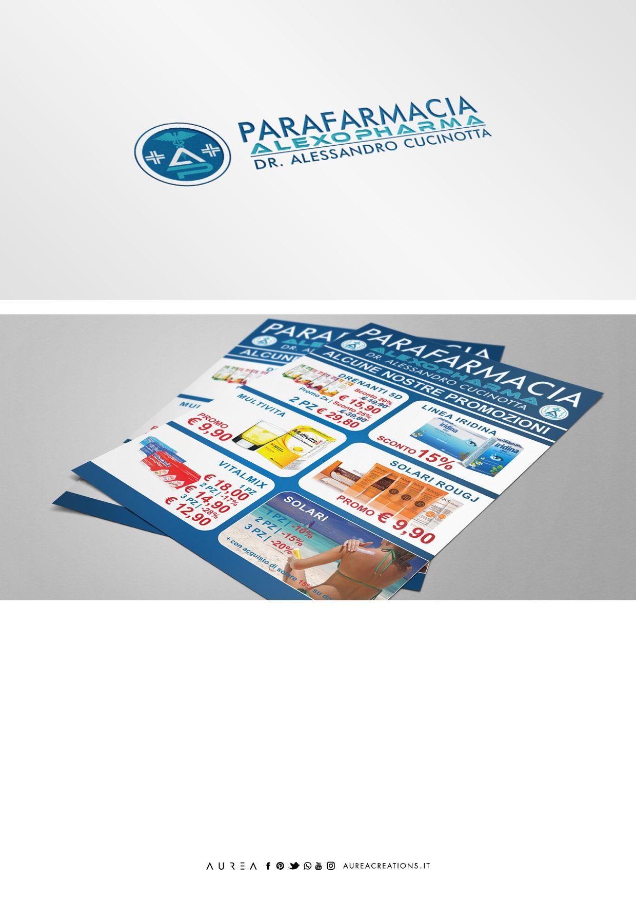 parafarmacia alexopharma logo flyer portfolio pinterest