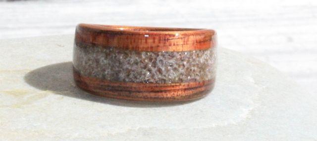 AMETHYST. Hawaiian Koa wood ring with Amethyst inlay.