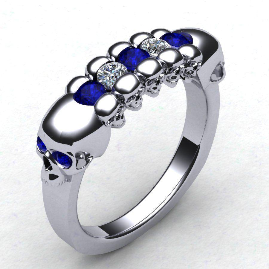 vitalium wedding band With This Skull Wedding Band Men s Skull Ring Skeleton Ring Mens Diamond Skull Ring Blue Sapphire