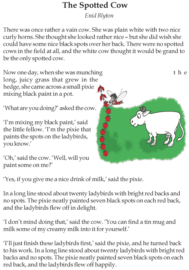 Worksheets Story For Grade 3 grade 3 reading lesson short stories the spotted cow cow