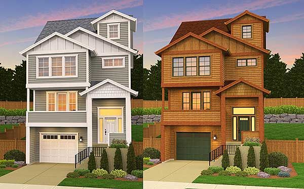 Plan 85091ms for an uphill skinny lot for Narrow sloped lot house plans