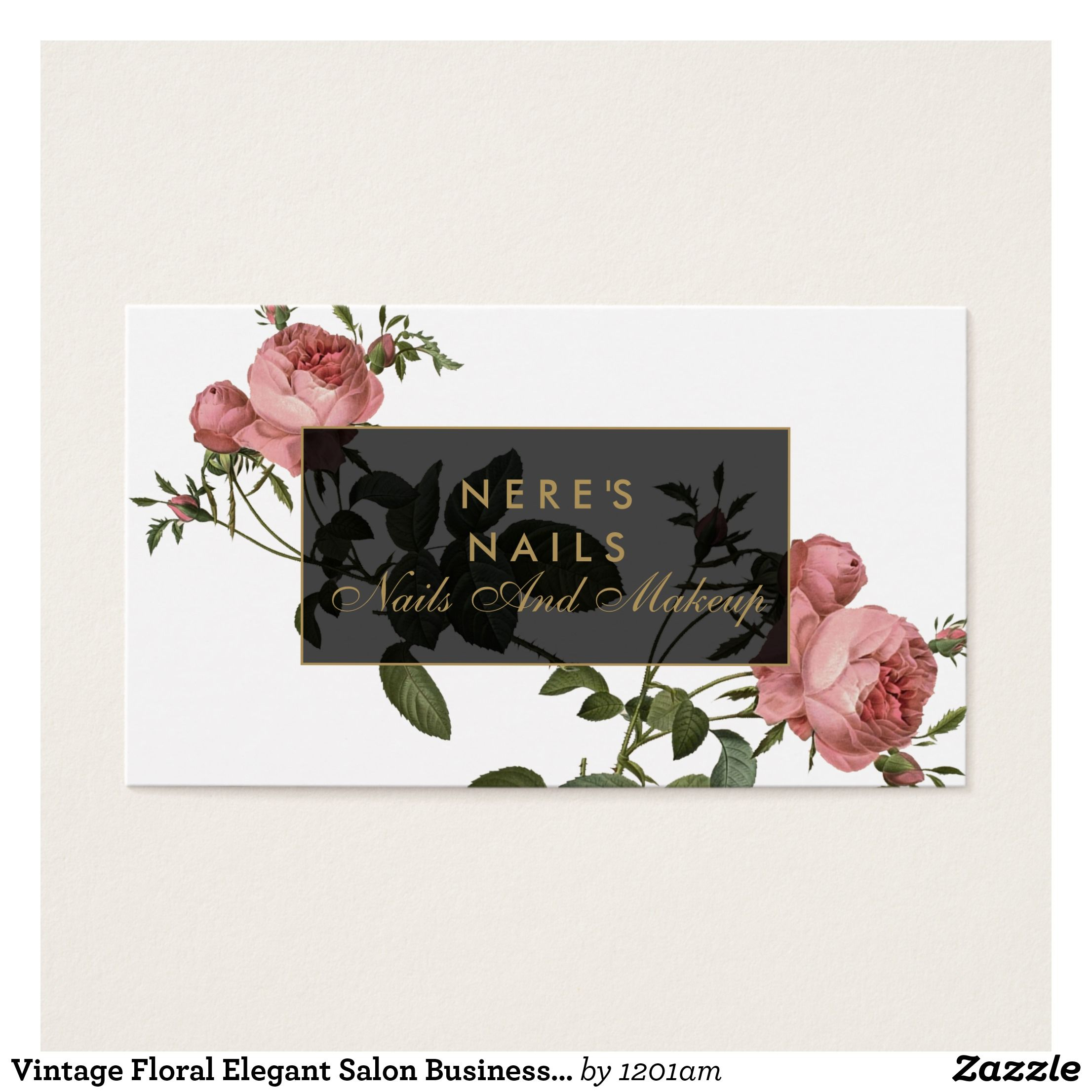Vintage Floral Elegant Salon Business Card | Vintage floral ...