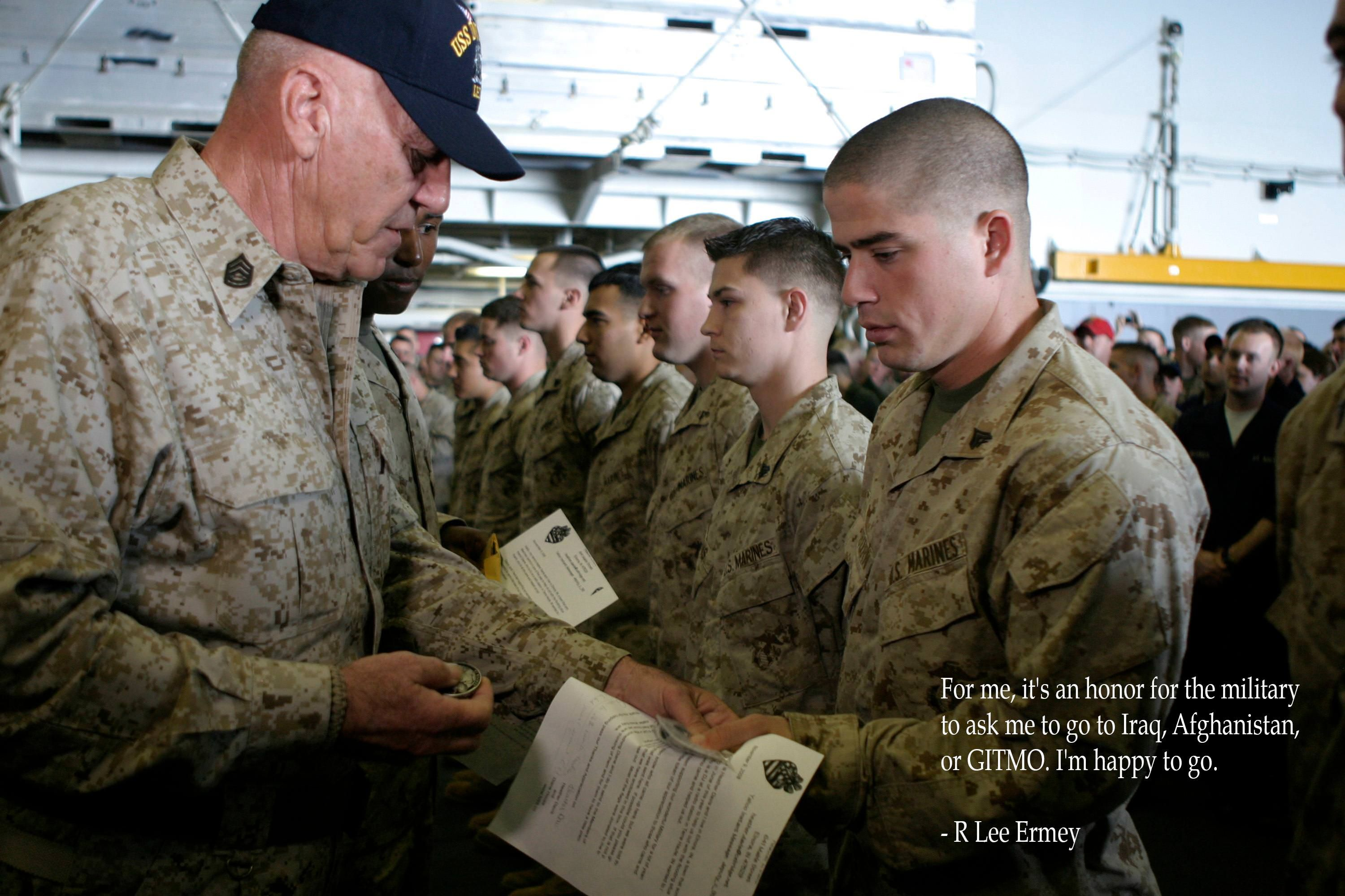 """""""For me it's an honor for the military to ask me to go to Iraq Afghanistan or GOTMO. I'm happy to go."""" - R. Lee Ermey [3000x2000] via QuotesPorn on April 16 2018 at 10:07AM"""