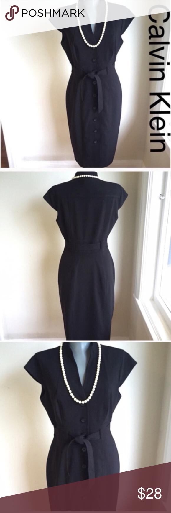 "Calvin Klein Black Dress. Timeless Sophistication. Calvin Klein Black Dress. Timeless Sophistication.  Flat lay measurements. Between under arms 15 1/2"".  Waist 26"". Hips 34"".  Very good condition.  Length 36"".  Gorgeous. Calvin Klein Dresses"