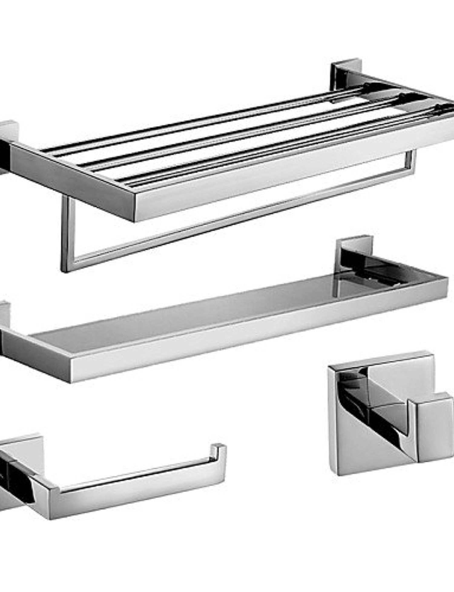 CNLG- Polish Stainless Steel Bath Accessories Set with Glass Shelf ...