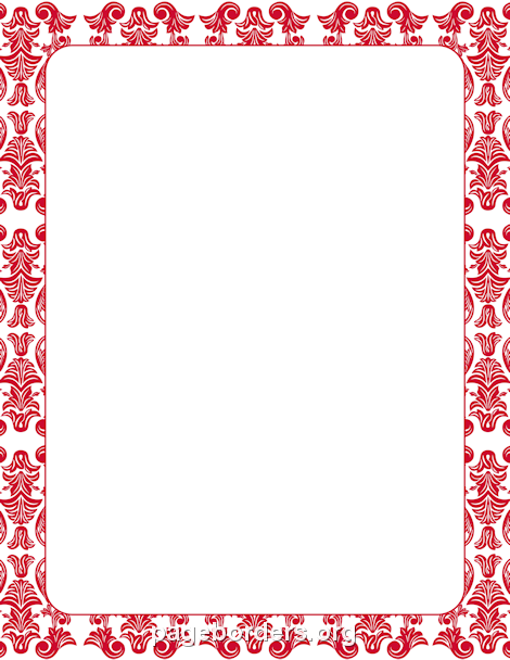 Printable red damask border. Use the border in Microsoft Word or ...
