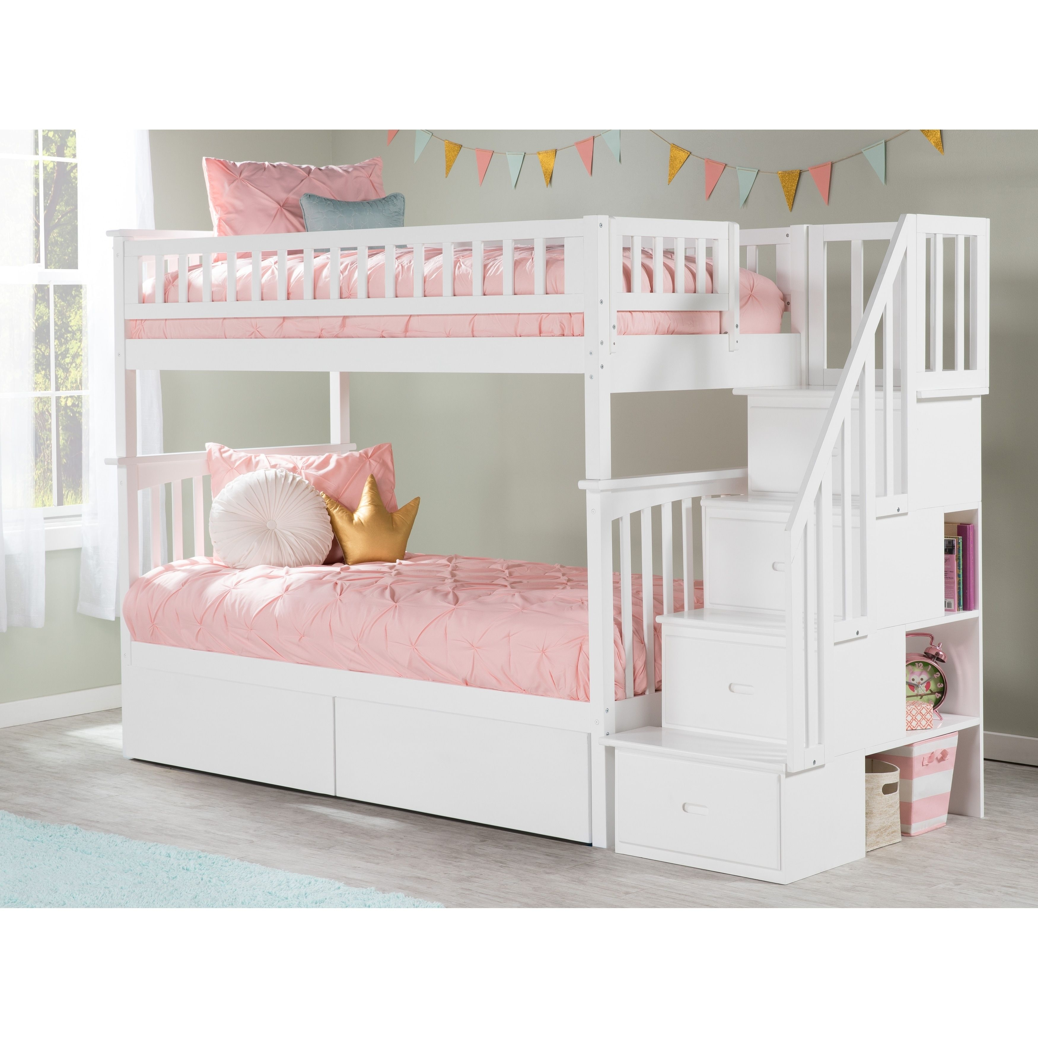 Columbia Staircase Bunk Bed Twin Over Twin With 2 Urban Bed Drawers In White Atlantic Furnitur Bunk Beds With Drawers Staircase Bunk Bed Bunk Bed With Trundle Twin bunk beds with drawers