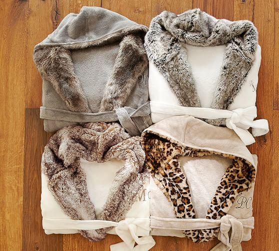 43ae91c32b Faux Fur Hooded Bath Robe - Ivory Caramel Ombre