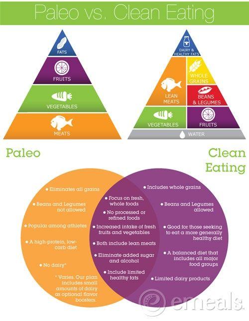 Paleo vs Clean Eating pyramids and venn diagrams Eating Healthy - fresh primal blueprint omega 3
