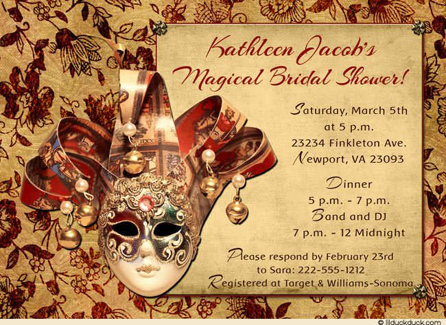 venetian masquerade bridal shower invitation red gold venice