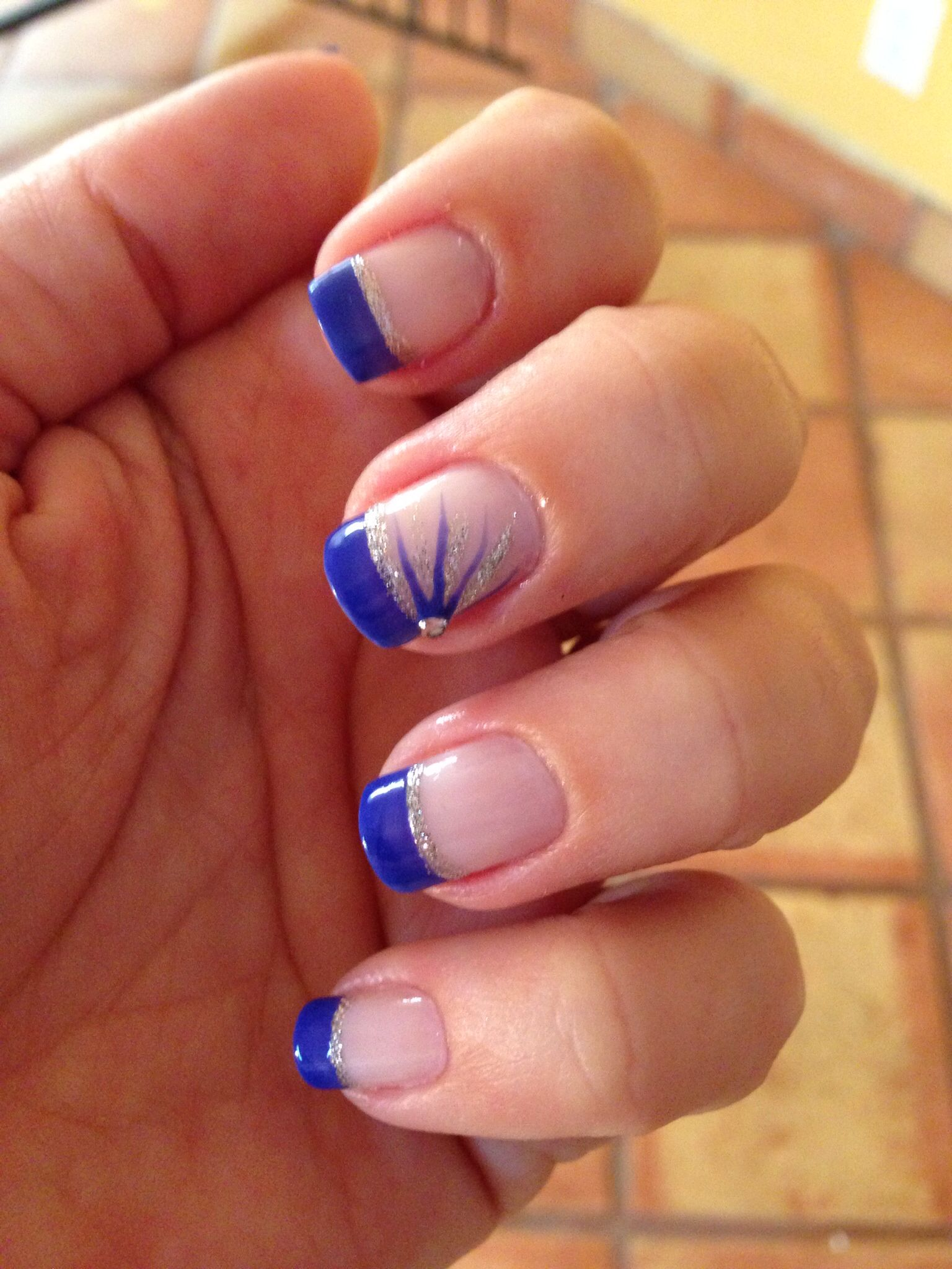 royal blue french nails in 2019