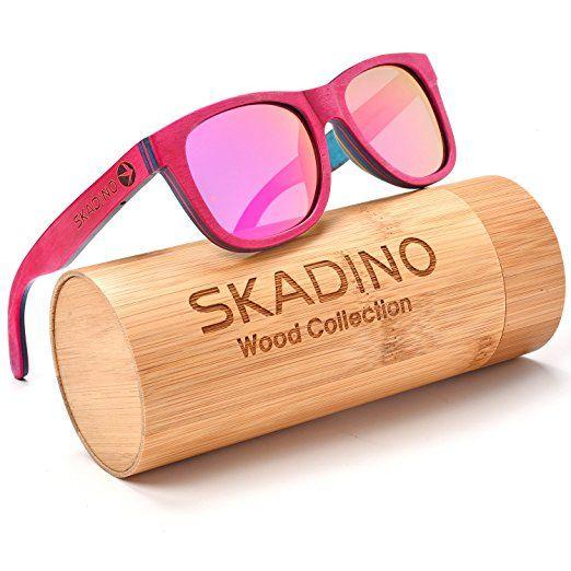 37234d9646 SKADINO Wayfarer Maple Wood Sunglasses with Polarized Lenses-Handmade  Floating Skateboard Wooden Shades for Men   Women-Pink  shades  sunglasses   pink ...