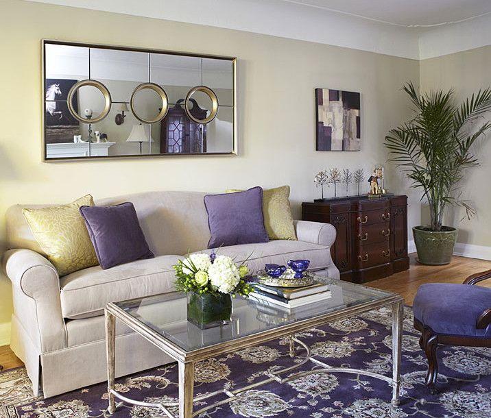 Benjamin Moore Living Room Paint Colors. Living Room painted Abingdon Putty by Benjamin Moore with purple accents