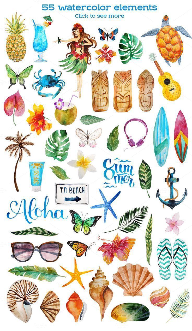 Aloha watercolor bundle by beauty drops on creativemarket