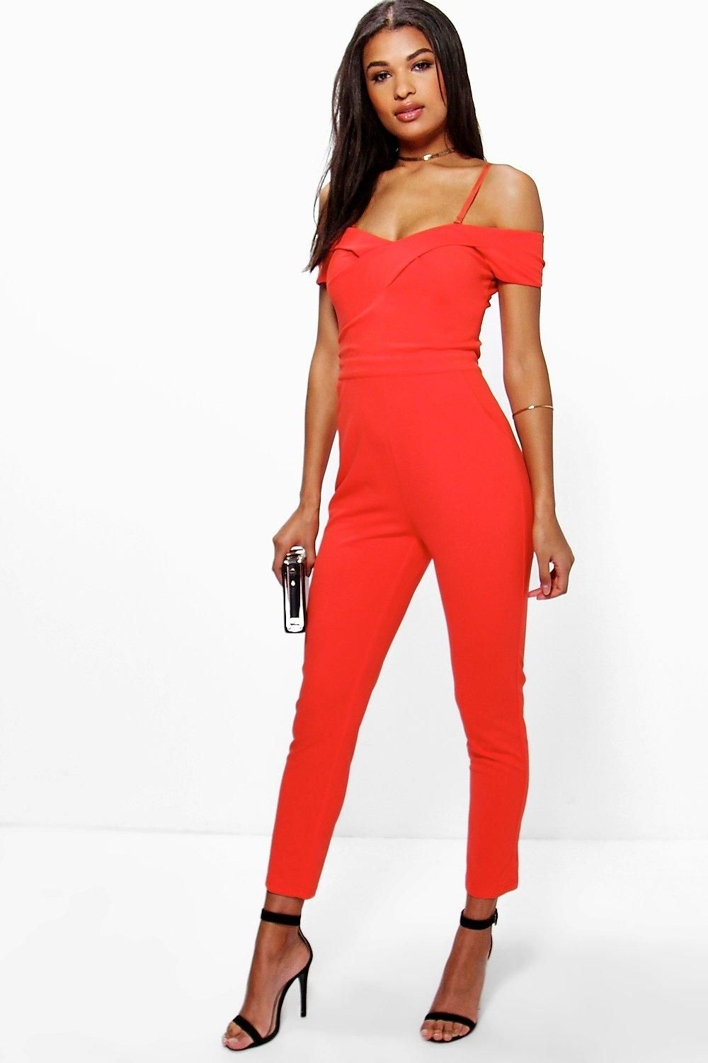 04c8fee36d48 Amy Cold Shoulder Jumpsuit Red Jumpsuit, Jumpsuits For Women, Fashion  Outfits, Fashion Clothes