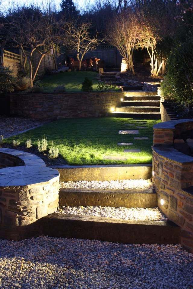 Beleuchtung garten ideen tipps stufen einbauleuchten kies - Bodenbeleuchtung terrasse ...