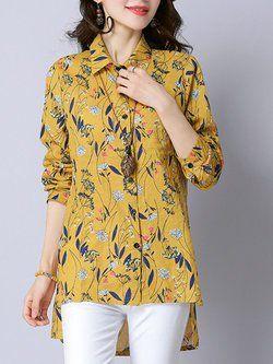 c24d33a0600 Yellow High Low Shirt Collar Casual Linen Shirt