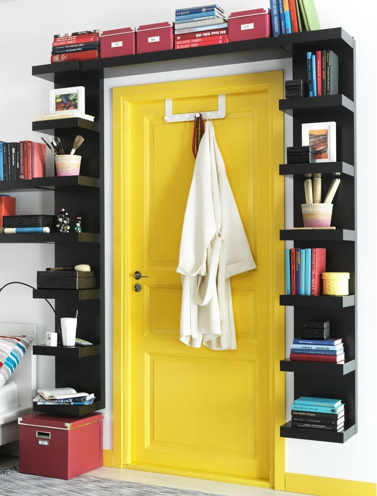 LACK Wall shelf unit, black | Lack shelf, Black shelves and Yellow doors