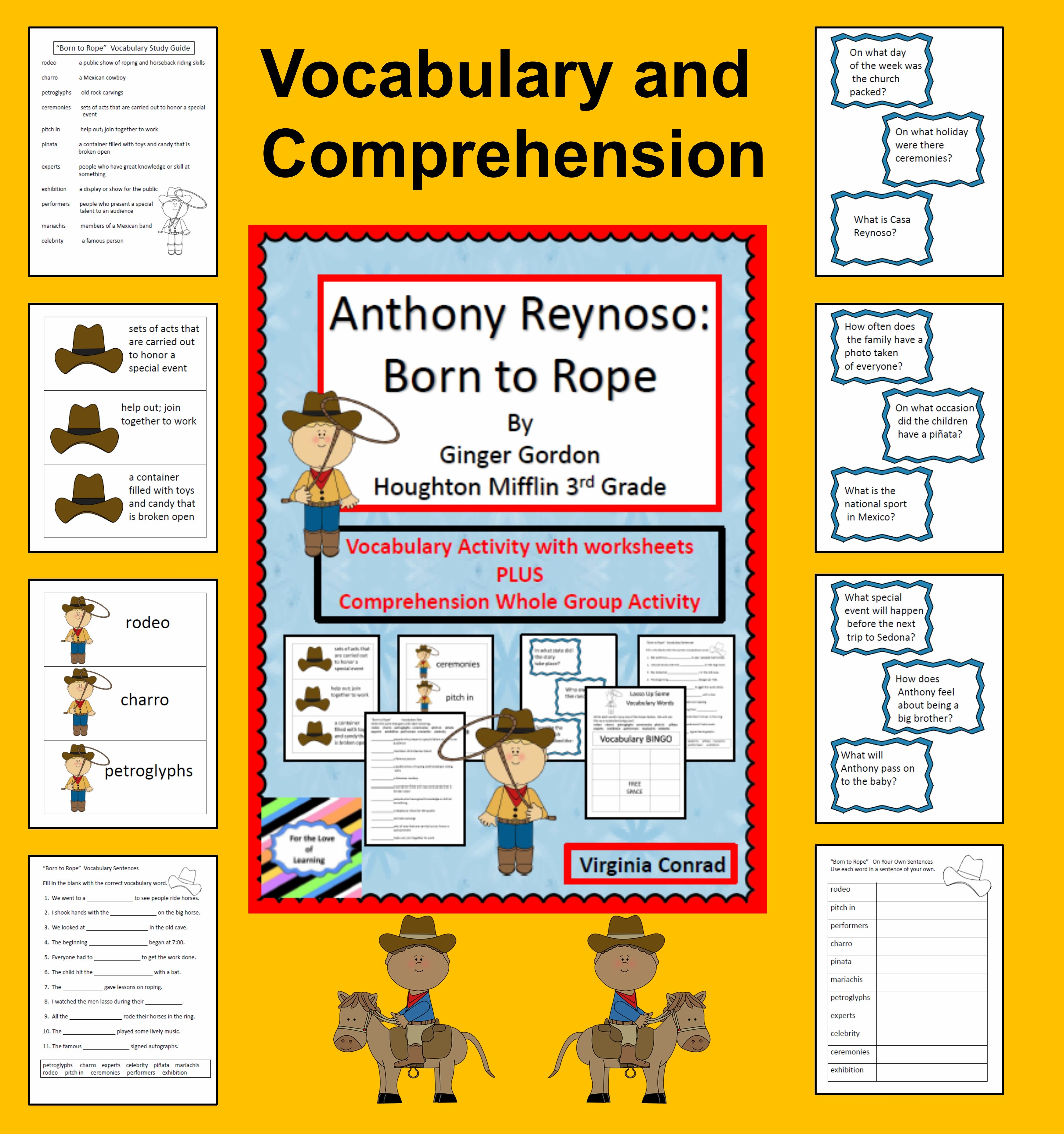 Anthony Reynoso Born To Rope Vocab And Comprehension Hm Grade 3