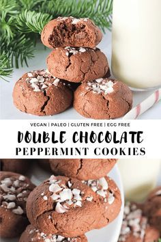 Simple and super soft and chewy these Double Chocolate Peppermint Cookies sprinkled with candy canes are the perfect Christmas cookie and holiday dessert  Simple and supe...