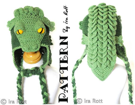 Snappy Simon the Crocodile Hat PDF Crochet Pattern  9da37510309