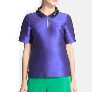 Kate Spade New York - Collar Top Blouse Nelle Embellished Emperor Blue - $238.80 (40% off)