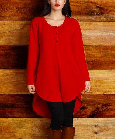 Look at this #zulilyfind! Red Scoop Neck Button Hi-Lo Tunic - Plus #zulilyfinds