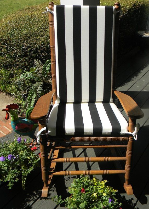 Indoor Outdoor Black Amp White Stripe Rocking Chair 2 Pc Foam Cushion Ser Fits Cracker Rocking Chair Cracker Barrel Rocking Chair Rocking Chair Cushions