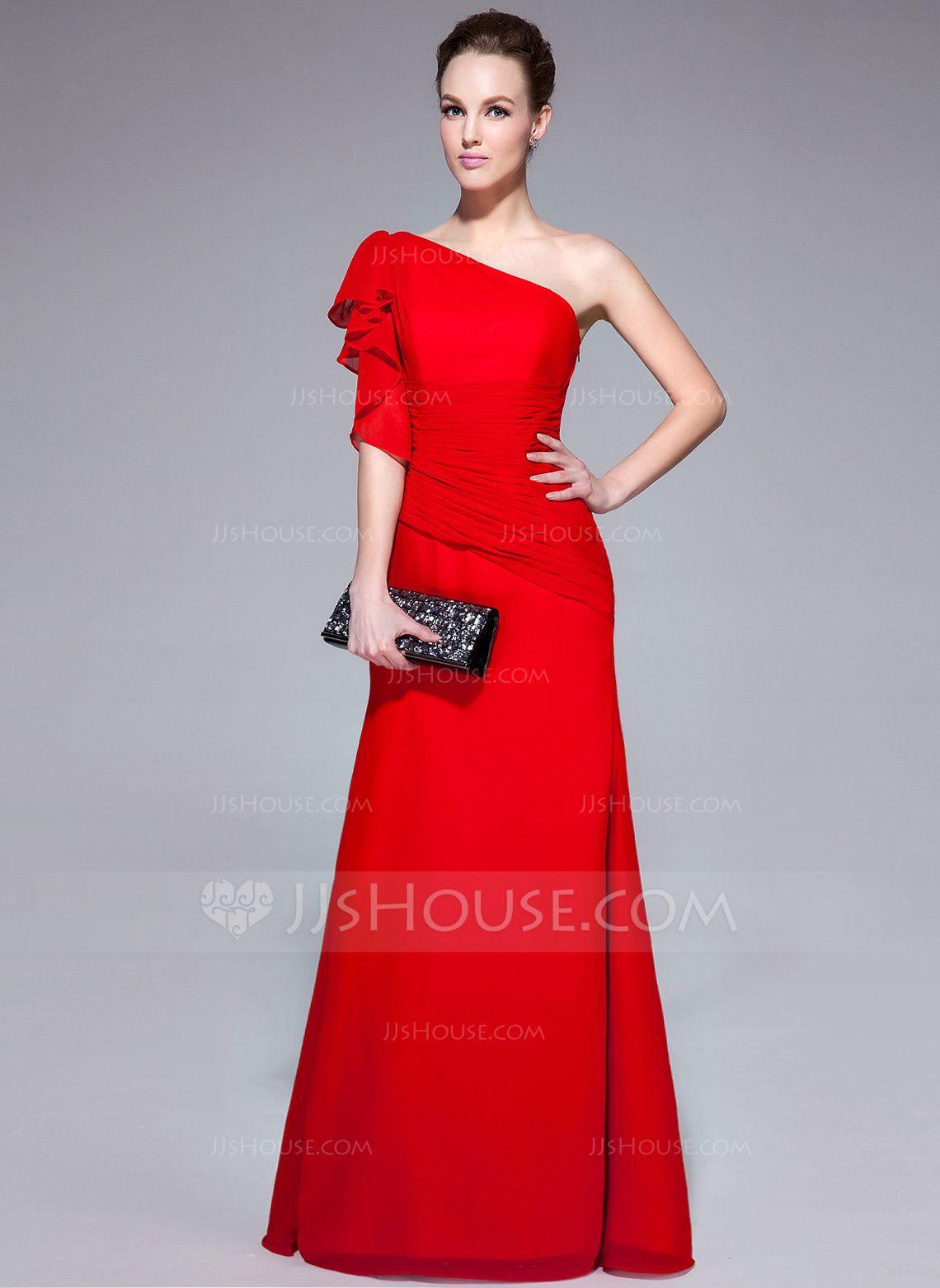 Trumpet/Mermaid One-Shoulder Floor-Length Chiffon Evening Dress With ...