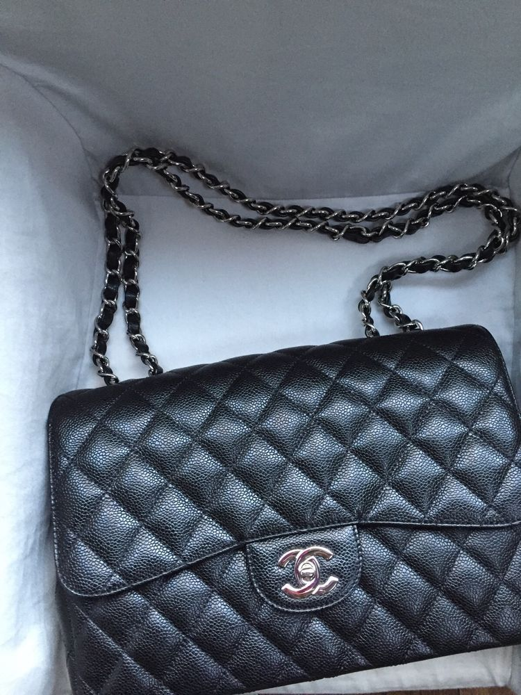 Chanel Quilted Caviar Leather Classic Jumbo Single Flap Bag - Black With  Silver 8238fad87a