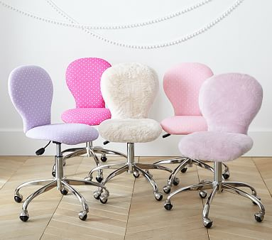 Swivel Round Upholstered Task Chair Gray Faux Fur