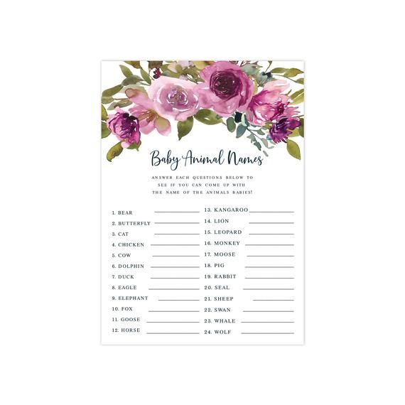 INSTANT DOWNLOAD Purple Floral Baby Shower Game –  Animal Names  – Printable Shower Game – Baby Show