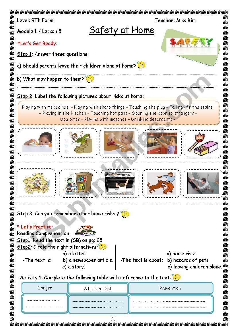 Safety at Home Worksheet worksheet   Home safety [ 1169 x 826 Pixel ]