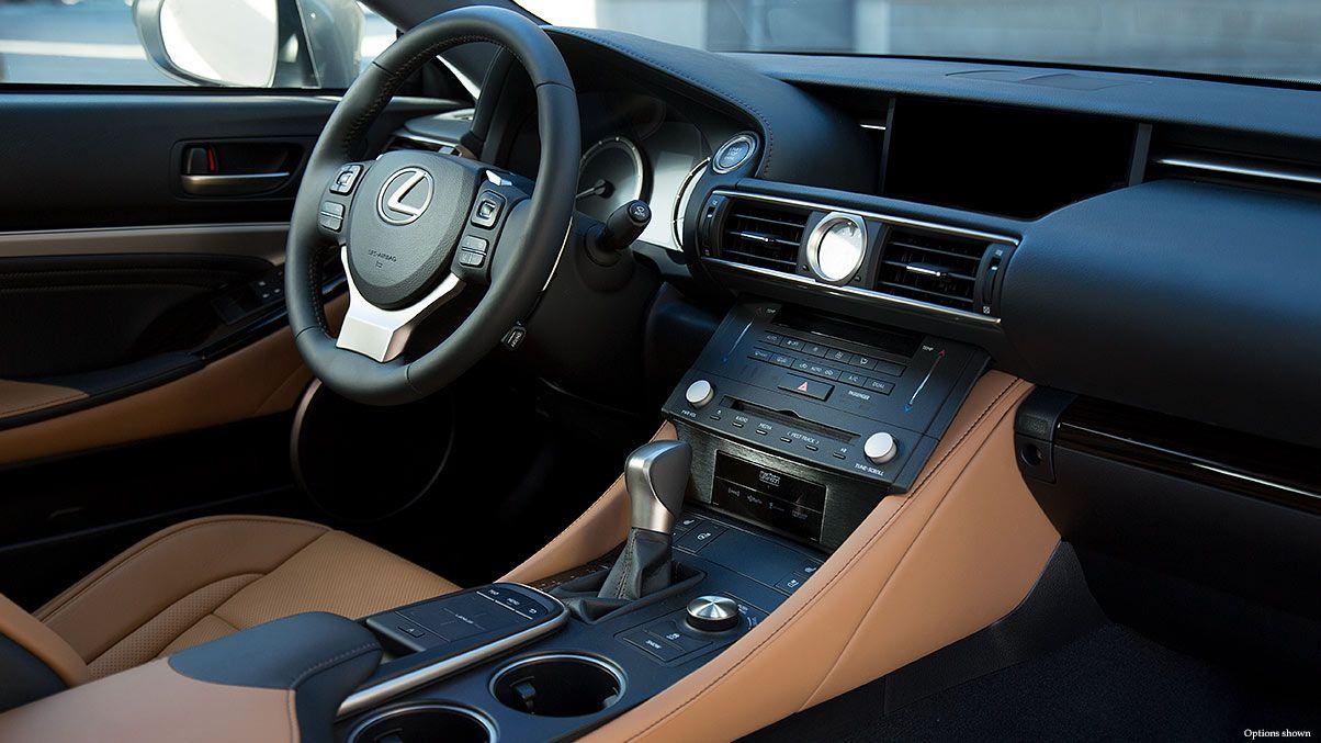 Interior Shot Of The 2018 Lexus Rc 350 Shown With Flaxen Leather Interior Trim New Lexus Lexus Models Lexus