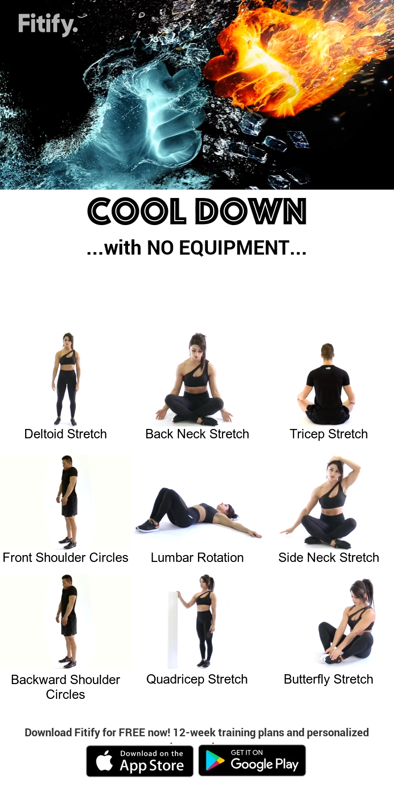 Cool Down without equipment by Fitify #fitnessexercisesathome