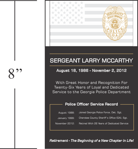 Police Retirement Plaque and Wording Samples | Retirement ...