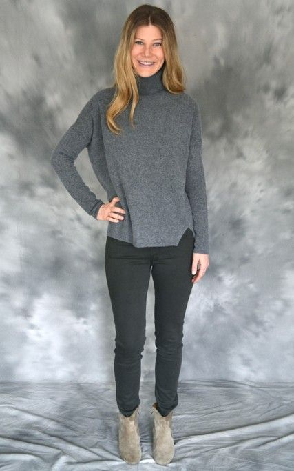 Velvet turtleneck sweater, fashion loose grey velvet sweater, cut ...