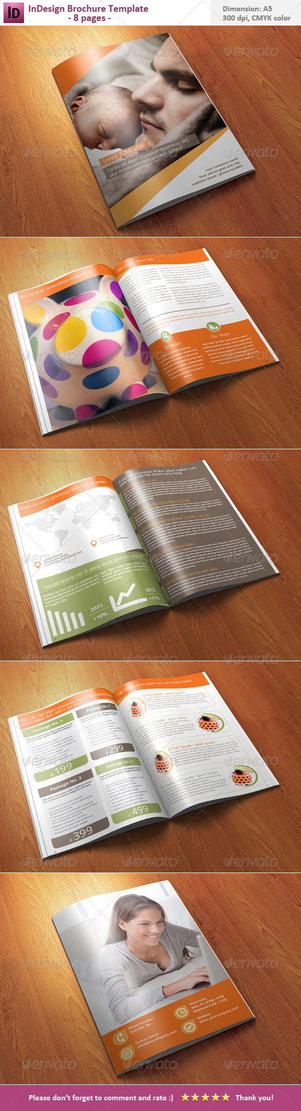 InDesign Brochure Template - 8 pages | Moderno, Advenimiento y Etiquetas