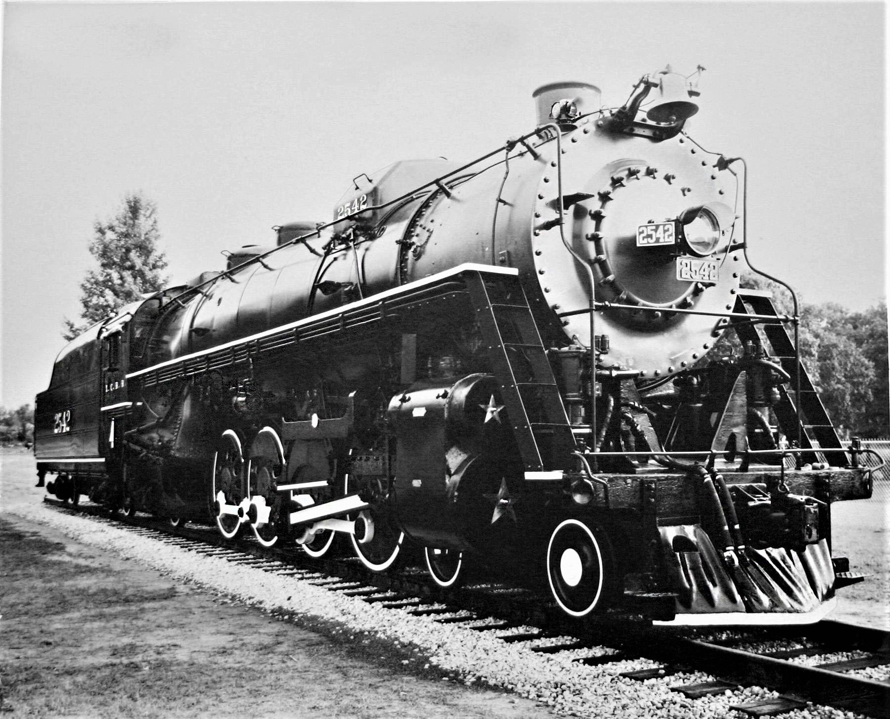Old photo of ICRR locomotive #2542, a 4-8-2 that was donated to the city of  McComb, MS in 1962.