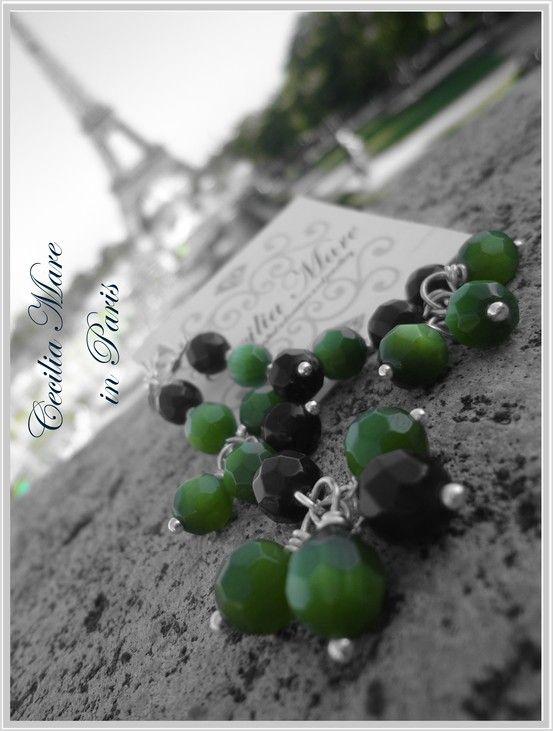 Cecilia Mare earings with peridot crystals pearls in Paris  http://www.ceciliamarejewellery.com/