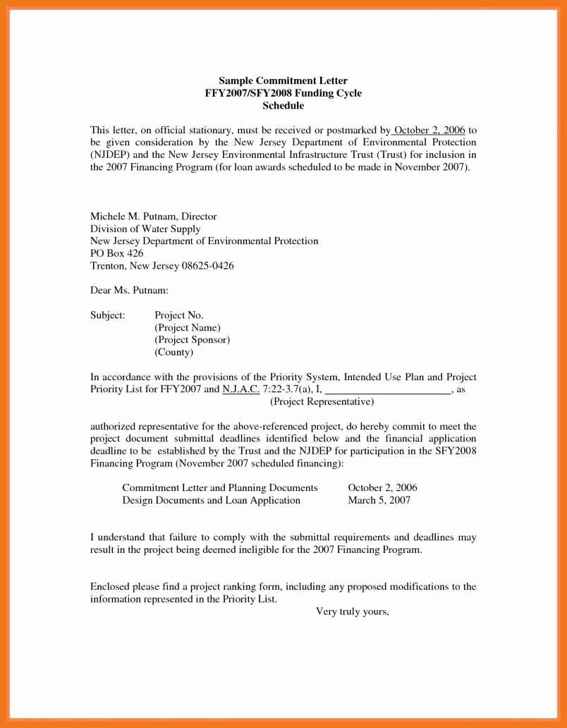 Letter Of Commitment For Employment Unique 4 5 Loan Mitment Letter Sample Doctors Note Template Lettering Cover Letter For Resume