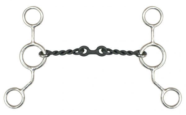 """Showman Sweet Iron Dog Bone Mouth with Four Copper Rings Snaffle Bit 7/"""" Cheeks"""