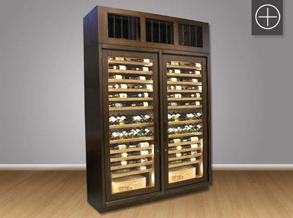 Custom Black Washed Bank Of Wine Cabinets For Red Wine Storage