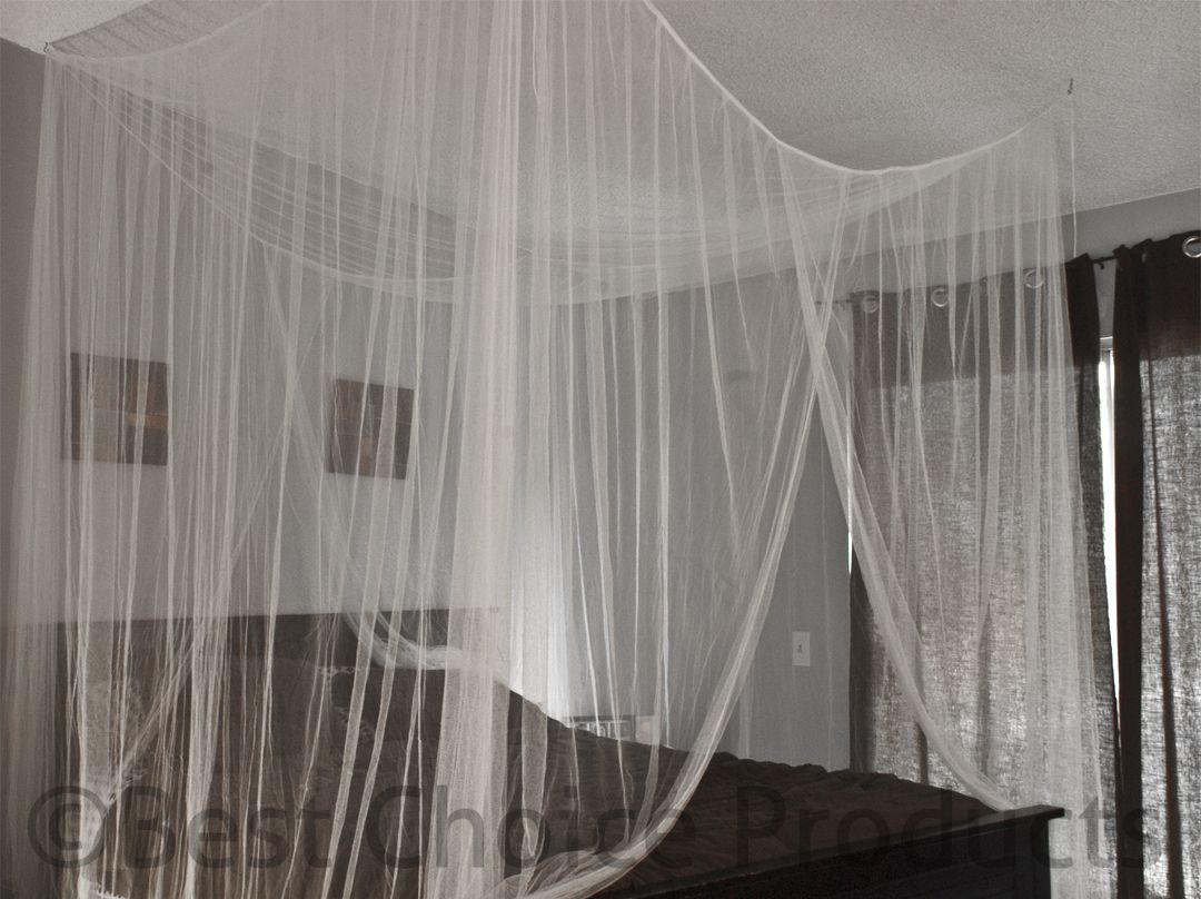 Bed Netting Mosquito Net White Four Corner Canopy Queen & Bed Netting Mosquito Net White Four Corner Canopy Queen King ...