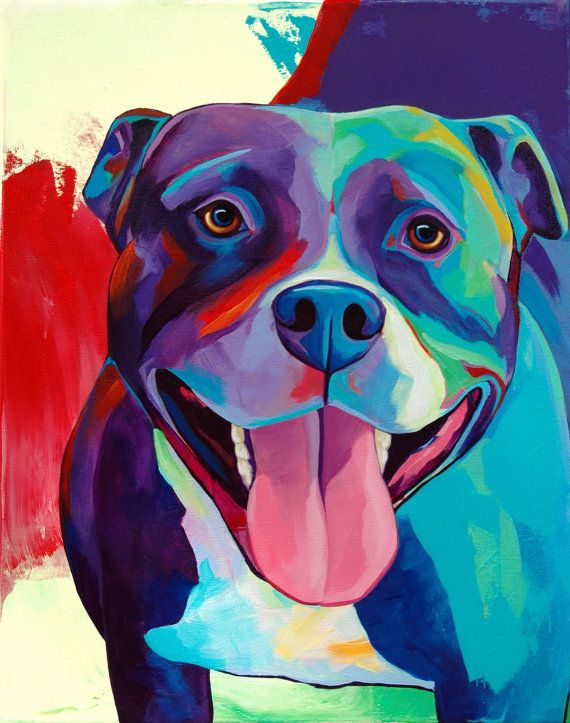 Pop Art Colorful Pitbull Print - Canvas Art PRINT Choose Your Size - By Corina St. Martin $36
