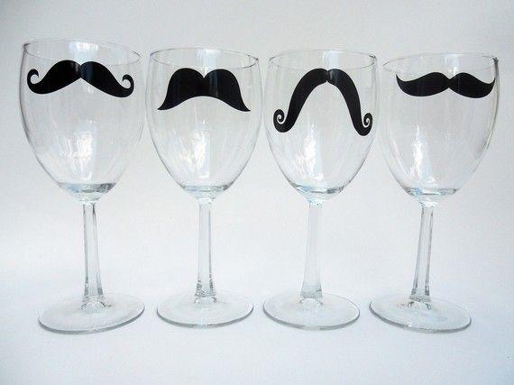 moustache wine glasses!