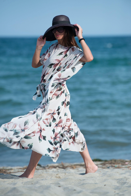 Woman White Flowers Summer Dress Beach Pareo Maxi Kaftan Beach Etsy Beachwear For Women Long Beach Dress Stylish Plus Size Clothing [ 3000 x 2002 Pixel ]