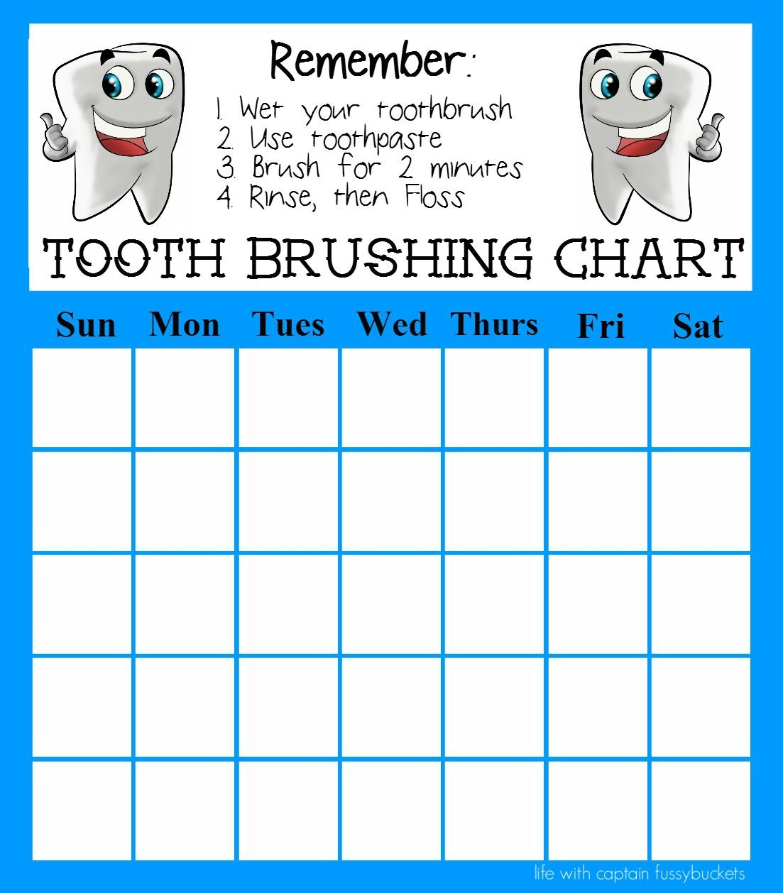 Print Out This Free Tooth Brushing Chart To Help Kids