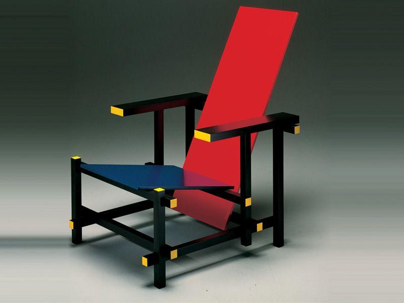 Cassina 635 Red And Blue Chair De Stijl Modern Classic