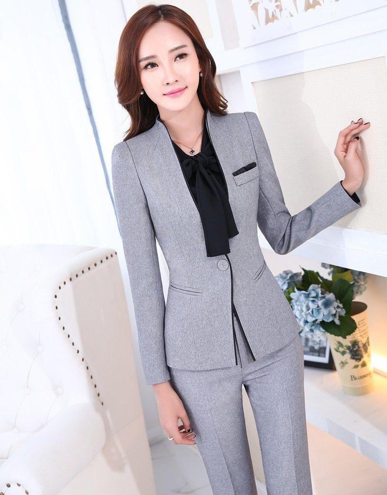 9b2413a64f4861 Online Shop Formal Uniform Design Novelty Grey Professional Business Work Suits  Jackets And Pants Ladies Pantsuits Female Trousers Set | Aliexpress Mobile